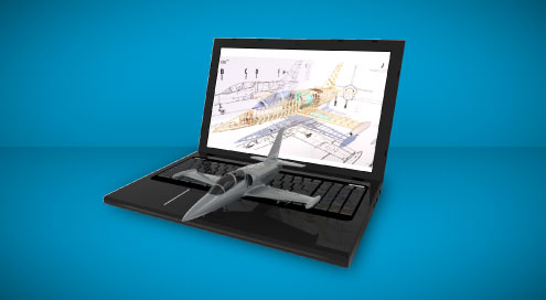 Image of a 2D drawing on a laptop screen with a 3D model-based representation